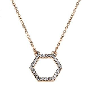 🆕 Crystal Pave Gold Tone Hexagon Pendant Necklace